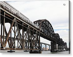 Amtrak Train Riding Atop The Benicia-martinez Train Bridge In California - 5d18728 Acrylic Print by Wingsdomain Art and Photography