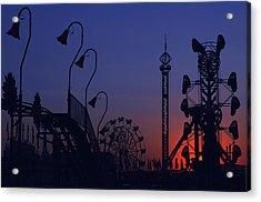 Amusement Ride Silhouette Acrylic Print by Michael Gass