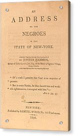 An Address To The Negros In The State Acrylic Print by Everett