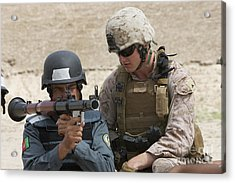 An Afghan Police Student Aiming A Rpg-7 Acrylic Print by Terry Moore
