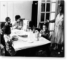 An African American Mother Serves Six Acrylic Print by Everett