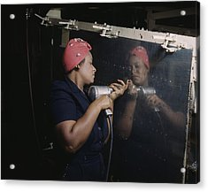 An African American Rosy The Riveter Acrylic Print by Everett