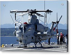 An Ah-1w Cobra Is Chained To The Flight Acrylic Print by Stocktrek Images