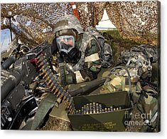 An Airman Defends Her Position Firing Acrylic Print by Stocktrek Images