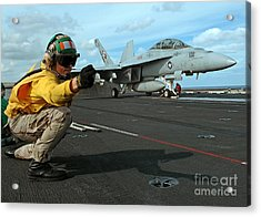An Airman Gives The Signal To Launch An Acrylic Print by Stocktrek Images