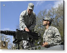 An Airman Instructs A Cadet On How Acrylic Print by Stocktrek Images