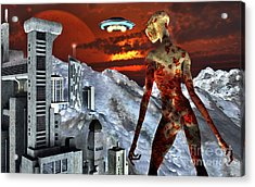 An Alien Being Overlooks Its Base Built Acrylic Print by Mark Stevenson