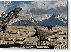 An Allosaurus Confronts A Small Group Acrylic Print by Mark Stevenson