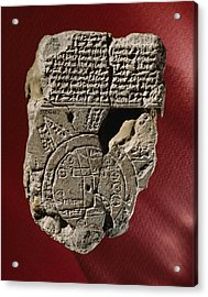 An Ancient Mesopotamian Map And Text Acrylic Print by Victor R. Boswell, Jr