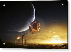 An Apocalyptic Scene Showing A Gravity Acrylic Print by Tobias Roetsch