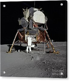 An Apollo 11 Astronaut In Front Acrylic Print by Stocktrek Images