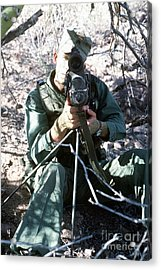 An Army Ranger Sets Up An Anpaq-1 Laser Acrylic Print by Stocktrek Images