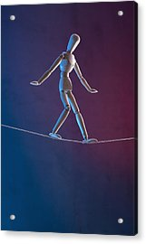 An Artist's Figure Walking A Tightrope Acrylic Print by Larry Washburn