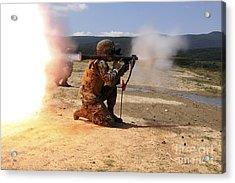 An Assaultman Fires A Rocket Propelled Acrylic Print