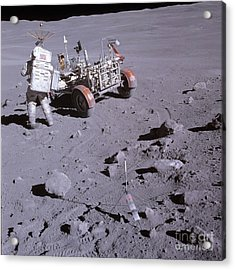 An Astronaut And A Lunar Roving Vehicle Acrylic Print by Stocktrek Images