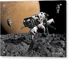 An Astronaut Makes First Human Contact Acrylic Print by Walter Myers