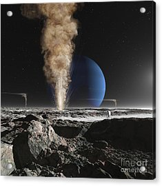 An Astronaut Observes The Eruption Acrylic Print by Ron Miller