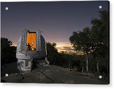 An Astronomer Works Inside A Dome Acrylic Print by Jim Richardson