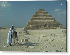 An Egyptian Man And Donkey At The Step Acrylic Print by Richard Nowitz