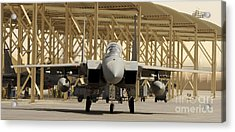 An F-15 Eagle Taxis Prior To A Training Acrylic Print by Stocktrek Images