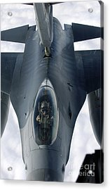 An F-16 Fighting Falcon Receives Fuel Acrylic Print by Stocktrek Images