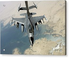 An F-16 Fighting Falcon Refuels Acrylic Print by Stocktrek Images