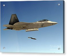 An F-22a Raptor Drops A Gbu-32 Bomb Acrylic Print by Stocktrek Images