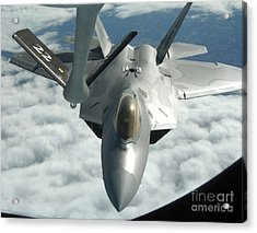 An F-22a Raptor Refuels With A Kc-135 Acrylic Print by Stocktrek Images