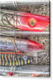 An Hdr Of Fishing Lures Acrylic Print by Jennifer Holcombe