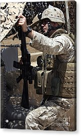 An Infantryman Talks To His Marines Acrylic Print by Stocktrek Images
