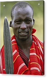 An Informal Portrait Of A Masai Warrior Acrylic Print by Michael Melford