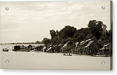 An Island Village On River Irrawaddy Acrylic Print by RicardMN Photography