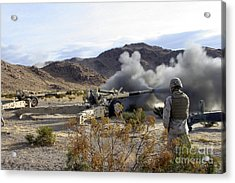 An M198 Howitzer Fires A 155-millimeter Acrylic Print by Stocktrek Images