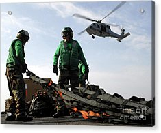 An Mh-60s Seahawk Passes Over Two Acrylic Print by Stocktrek Images