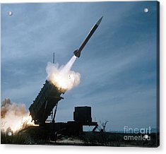 An Mim-104 Patriot Missile Is Test Acrylic Print by Stocktrek Images