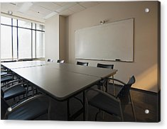 An Office. Whiteboard On The Wall Acrylic Print by Marlene Ford