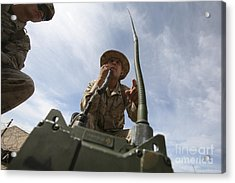 An Officer Conducts A Radio Check Acrylic Print by Stocktrek Images