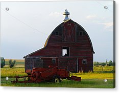 an old barn and bailor in Eastern Montana Acrylic Print by Jeff Swan