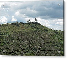 An Old Temple Building On Top Of A Hill With A Lot Of Clouds In The Sky Acrylic Print by Ashish Agarwal
