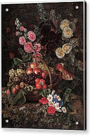 An Opulent Floral Still Life With Fruit Acrylic Print by Johan Laurentz Jensen