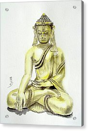 Acrylic Print featuring the painting An Orient Statue At Toledo Art Museum - Ohio-3 by Yoshiko Mishina