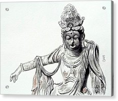 Acrylic Print featuring the painting An Oriental Statue At Toledo Art Museum - Ohio- 2 by Yoshiko Mishina
