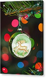 An Ornament With A Reindeer Hanging Acrylic Print by Craig Tuttle