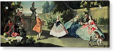 An Ornamental Garden With A Young Girl Dancing To A Fiddle Acrylic Print