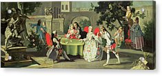 An Ornamental Garden With Elegant Figures Seated Around A Card Table Acrylic Print by Filippo Falciatore
