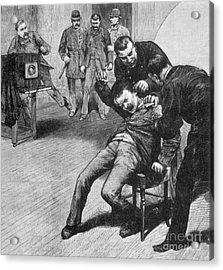 Anarchist Being Held Down For Mug Shot Acrylic Print by Photo Researchers