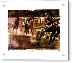 Acrylic Print featuring the photograph and the winner is - A vintage processed Menorca trotting race by Pedro Cardona