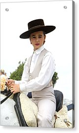 Andalusian Feria - Girl On Horse Acrylic Print by Perry Van Munster