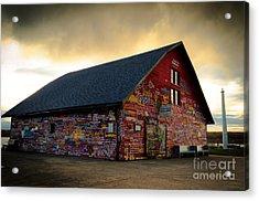 Anderson Barn At Dusk Acrylic Print by Mark David Zahn