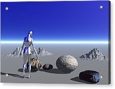 Android On The Blue Planet Acrylic Print